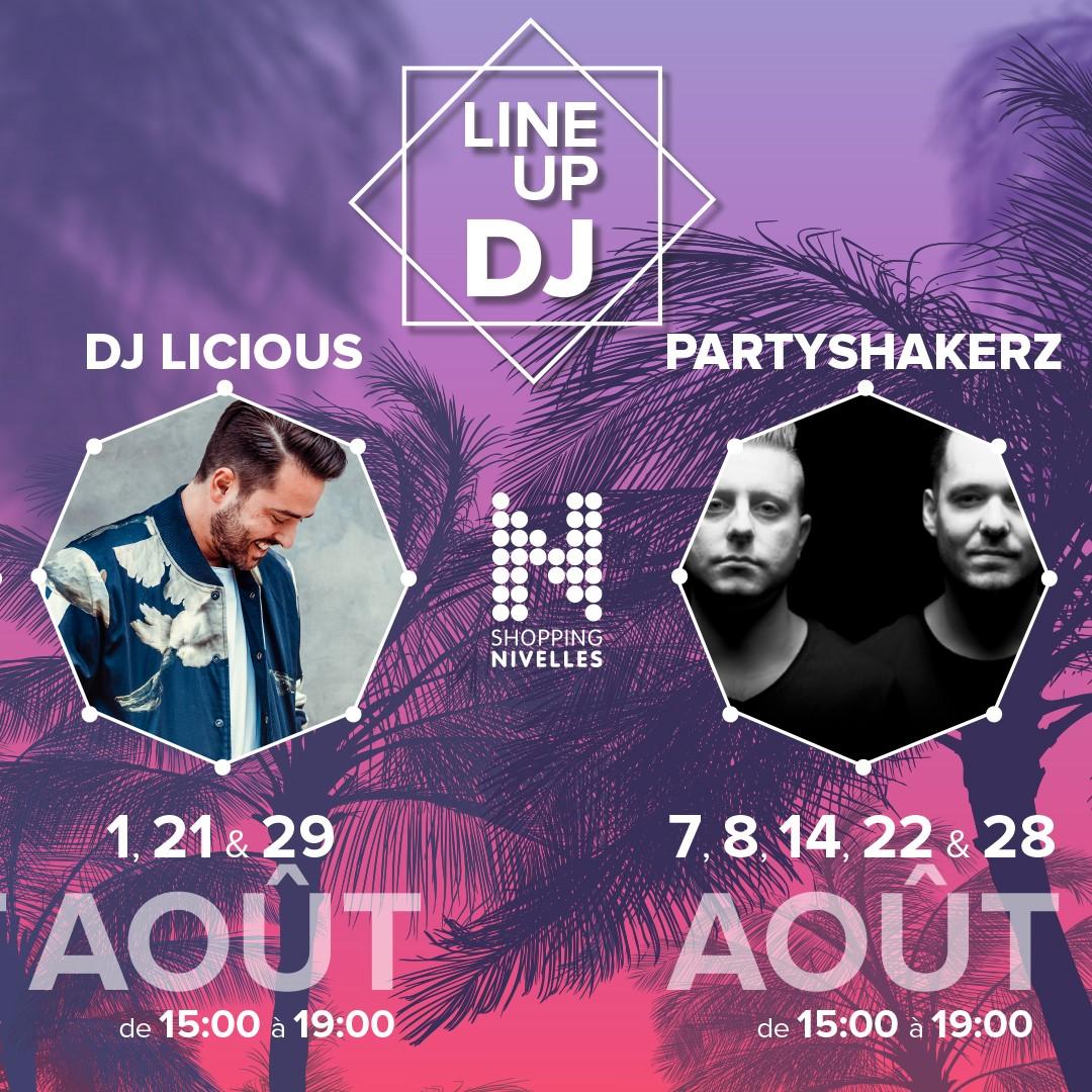 Dj Licious Partyshakerz shopping nivelles line up DJ